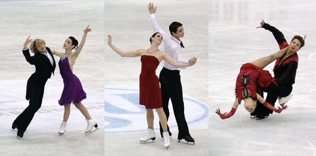 Predictions for the ice dancing event (L-R): Meryl Davis and Charlie White - gold, Tessa Virtue and Scott Moir - silver, and Ekaterina Bobrova and Dmitri Soloviev - bronze. Photos all by Wikipedia user Luu.