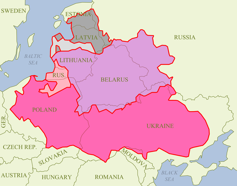 Map showing the Polish-Lithuanian Commonwealth in 1619. This is a Wikipedia image for which the author information is not available.