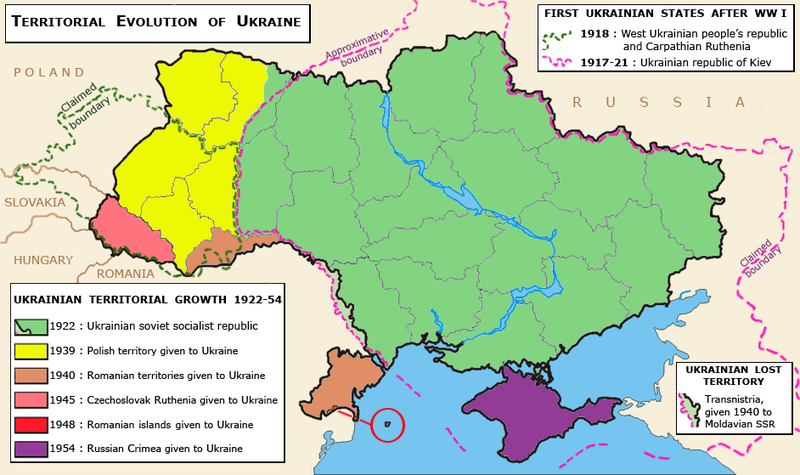This map shows how the territory of the Ukranian Soviet Socialist Republic was determined following the events of the two World Wars.