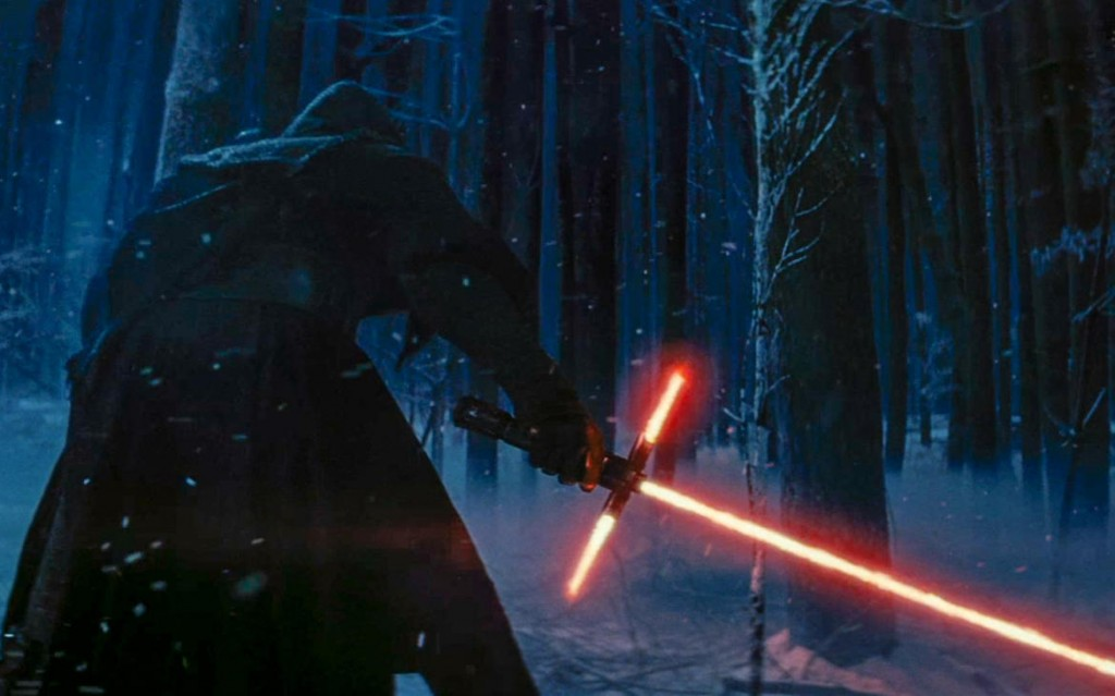 """Kylo Ren and his unique light saber in """"The Force Awakens"""""""
