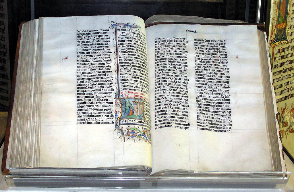 A 15th century Bible in the possession of the former Malmesbury Abbey in England. Photo by Adrian Pingstone